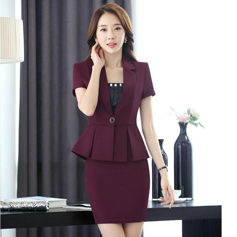 800c24eae8f 2019 2017 New Summer Short Sleeve Slim Fashion Blazers Suits With Jackets  And Skirt Ladies Office Beauty Salon Blazer Outfits S 3XL From Bishops