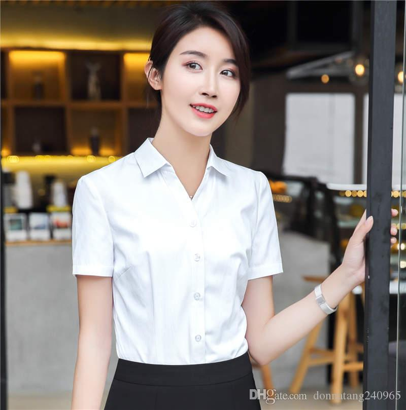 3d0445e8849 2019 Summer Fashion Women Short Sleeve Shirt Black White Formal Slim Blouse  Office Ladies Plus Size Tops From Donnatang240965, $10.22 | DHgate.Com