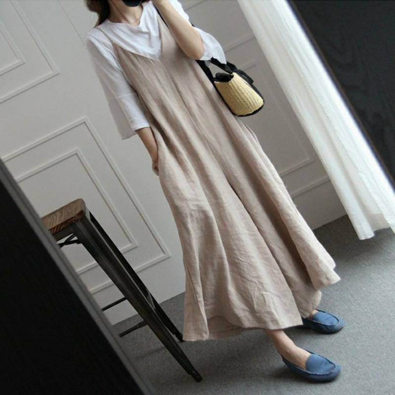 9913d9ebb1c 2019 Wide Leg Pants Women Overalls Linen Jumpsuits Strappy Dungarees Casual  Pockets Long Trousers Baggy Rompers Pantalon Palazzo Pant From Keviny