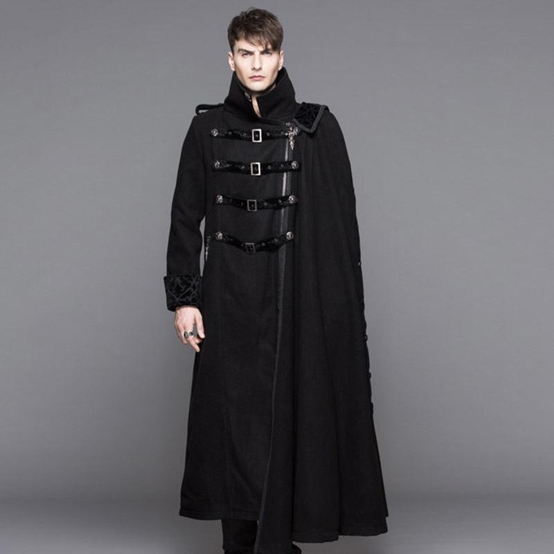 7988c5306 2019 Devil Fashion Steampunk High Collar Black Long Trench Coat For Men  Gothic Thick Overcoats With Detachable Cape Winter Wearing C18110701 From  Linmei0005 ...