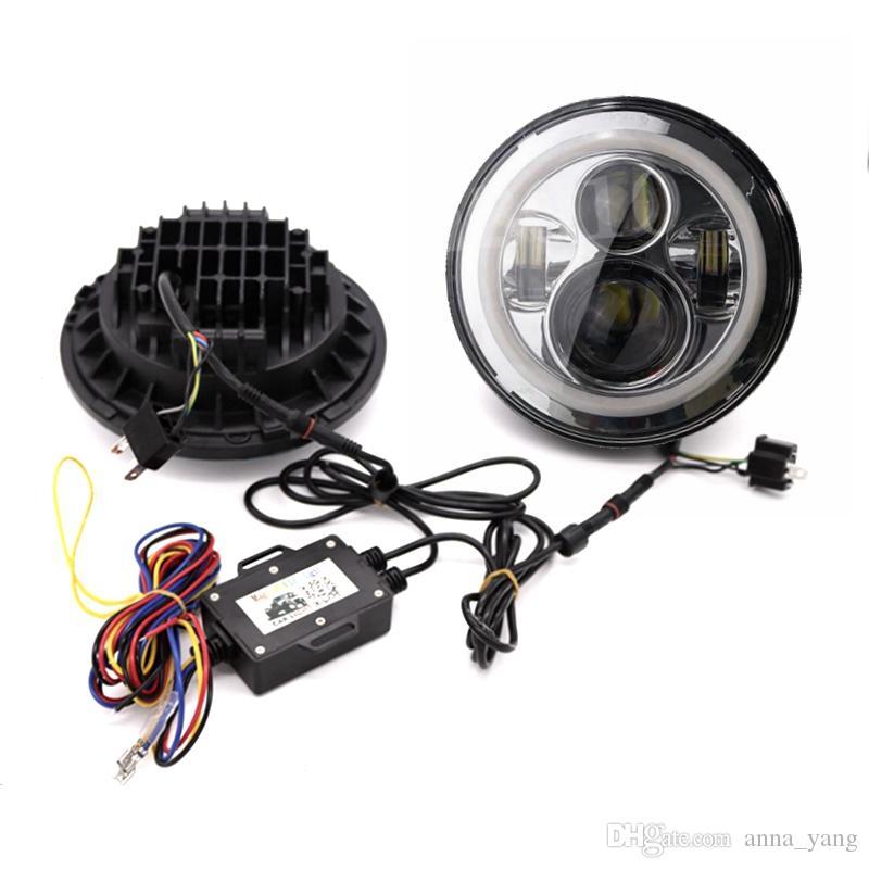 "7 inch LED RGB Headlight 7"" DRL Headlamp Flashing rgb Angel eye halo ring Bluetooth Controlled for Jeep jk wrangler"