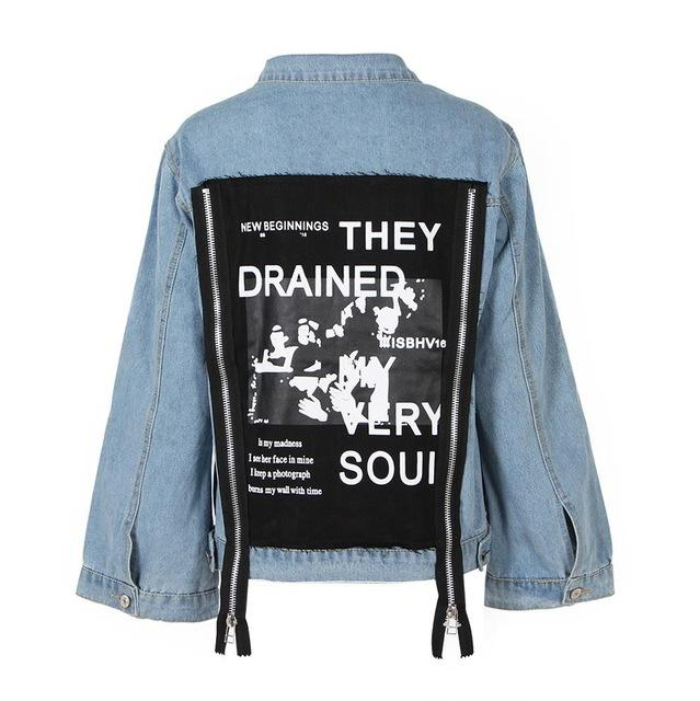 2018 Autumn Back Patch Denim Jacket For Women Female Jeans Feminine