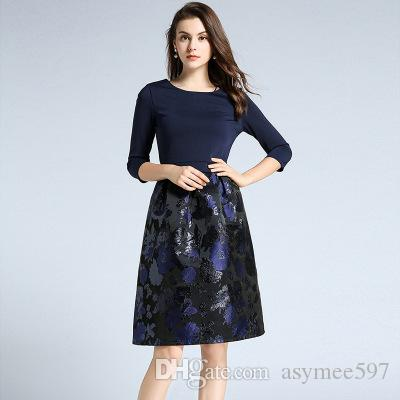 4c43447a0 2019 Fashion New Knitted Panelled Dress To Women,Nice Floral Printing  Dresses,Lady Autumn And Winter Elegant Skirts,3/4 Long Sleeve From  Asymee597, ...