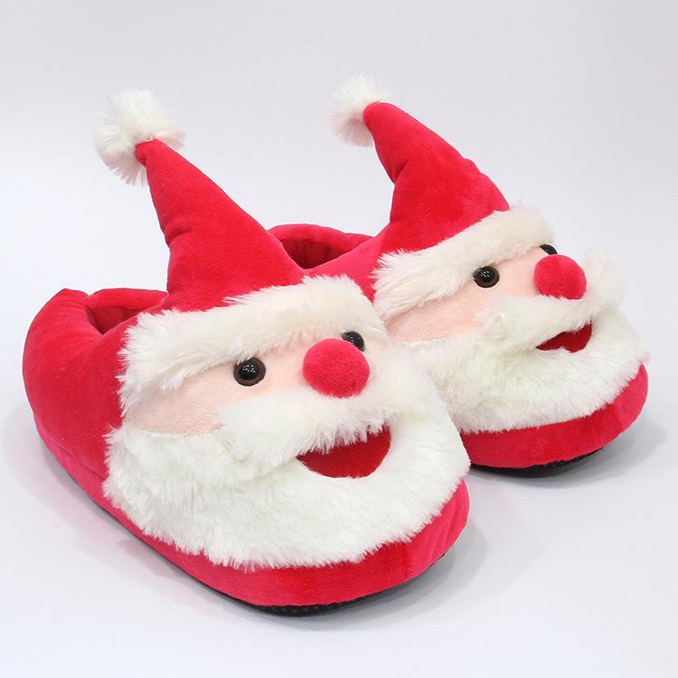 28cm Kids Santa Claus Plush Slippers Cartoon Full Heel Soft Warm ...