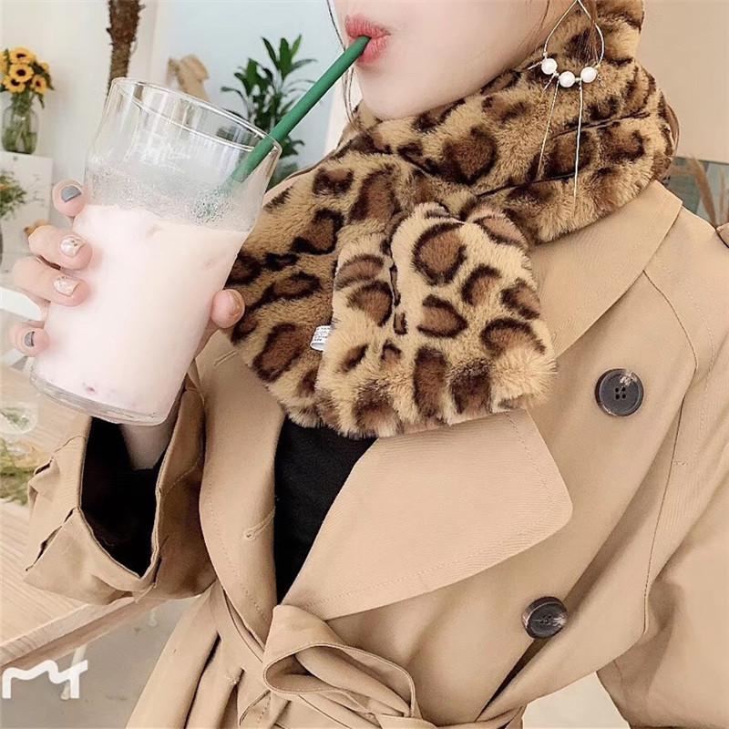 817256580 Winter Pattern Imitate Rabbit Hair Mink Decoration Leopard Print Hijab Scarf  Women Fur Collar Scarves Echarpe Bandanas Headwear Bandana Day Motorcycle  ...