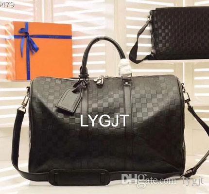 bd90fc8eed Best Quality Men Women Embossed Travel Bag Black Duffle Bag