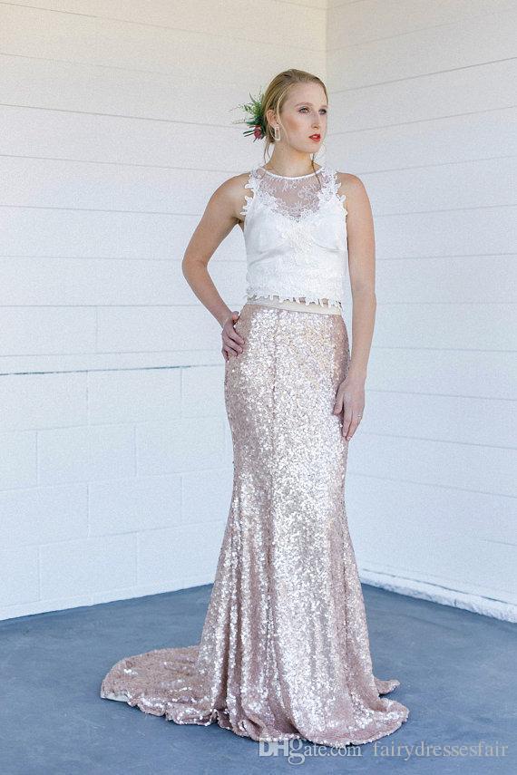 2018 Sparkling Rose Gold Bling Sequined Wedding Dresses Mermaid ...