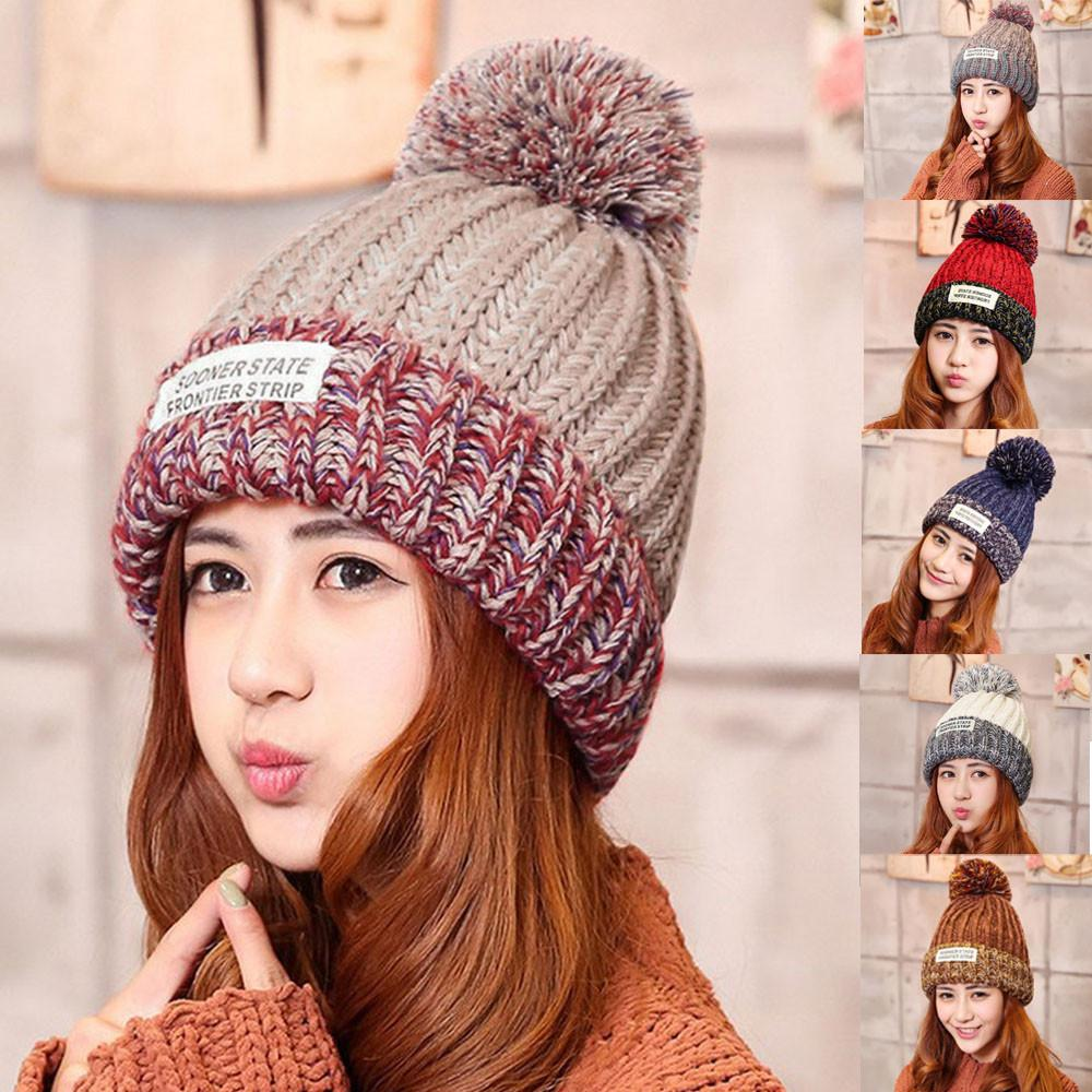 2018 New Fashion Pompons Skullies Beanies Winter Cap For Women Knit Hat  Patch Stripes PomPoms Knitting Skullies Cap Crochet Baby Hats Ladies Hats  From ... 687578c259e