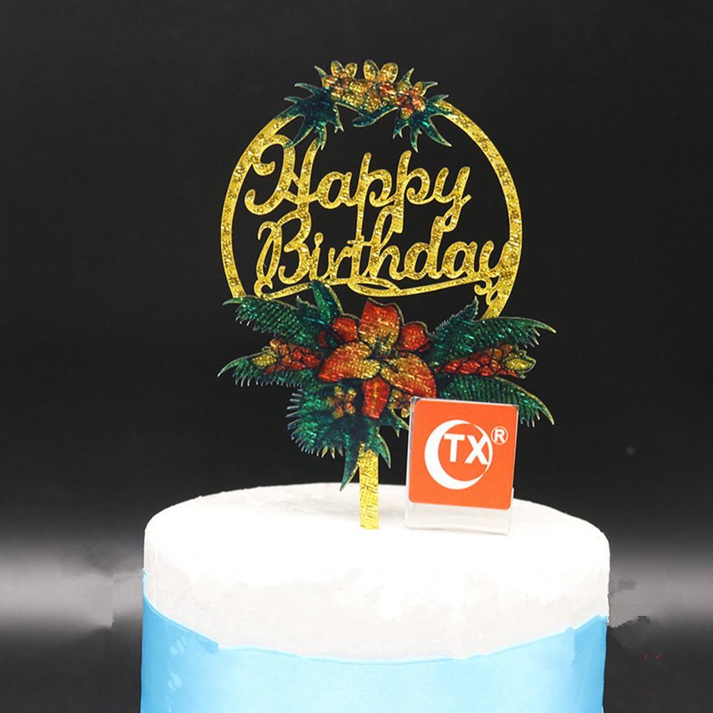 Grosshandel Farbdruck Happy Birthday Cake Topper Holz Acryl Kreisformige Design Geburtstagstorte Dekoration Geburtstag Party Decor Liefert Von Suozhi1996