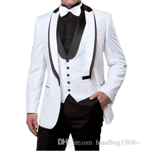 Neuheiten One Button Weiß Bräutigam Smoking Spitze Revers Groomsmen Best Man Herren Hochzeit Anzüge Jacke + Pants + Weste + Tie D: 145