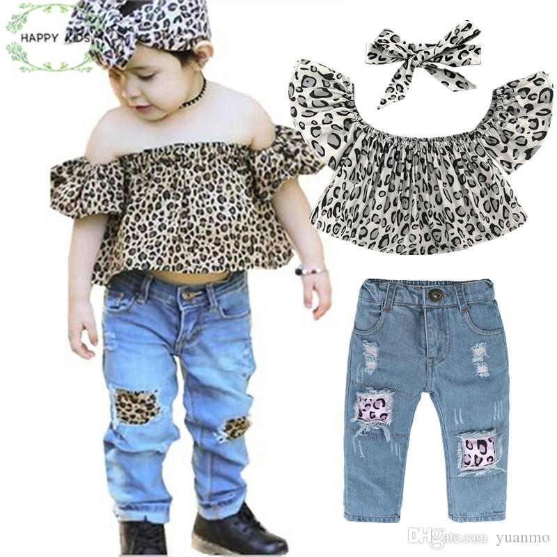 47a8577cc18c New Summer Fashion Children Girls Clothes Set Off Shoulder Leopard ...
