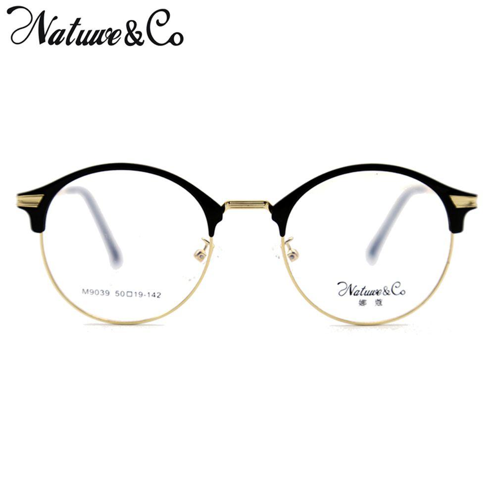 8984e49fbe20 2019 Natuwe Co Retro Round Metal   Plastic Glasses Men Frame Clear Lens  Computer Eyeglasses 50 48 19 142 Mm From Qiufenshuan