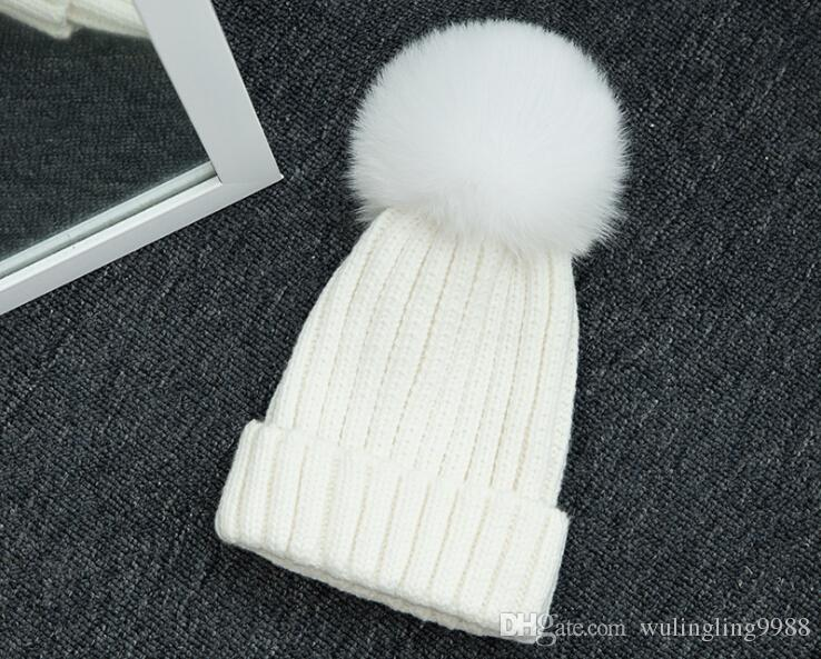 Abnehmbare echte Fuchspelz Pom Ball gestrickte Acryl Mützen Winter wärmer Plain Hüte Erwachsene Kinder Kinder Hüte Slouchy Mens Womens Schneekappe