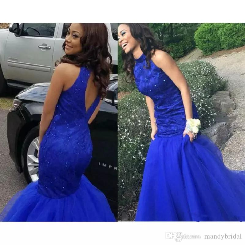 2018 New Sexy Lace Prom Dresses Royal Blue High Neck Tulle Lace