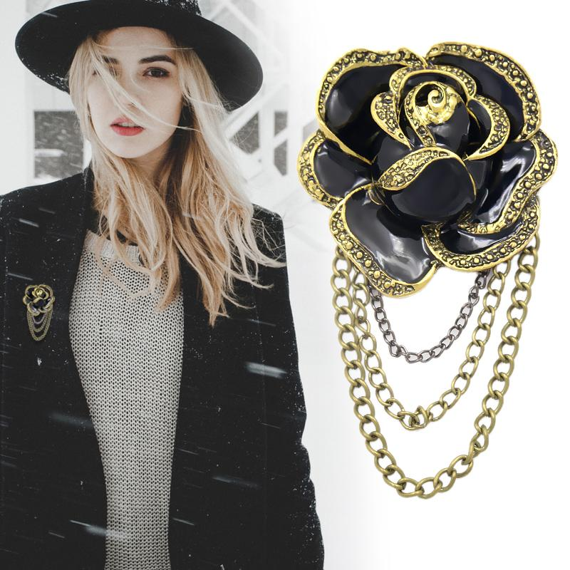 Factory Direct Sale Black Enamel Rose Flower Tassel Brooch Pins with Chain Drop for Women or Men in Antique Gold Color Plated