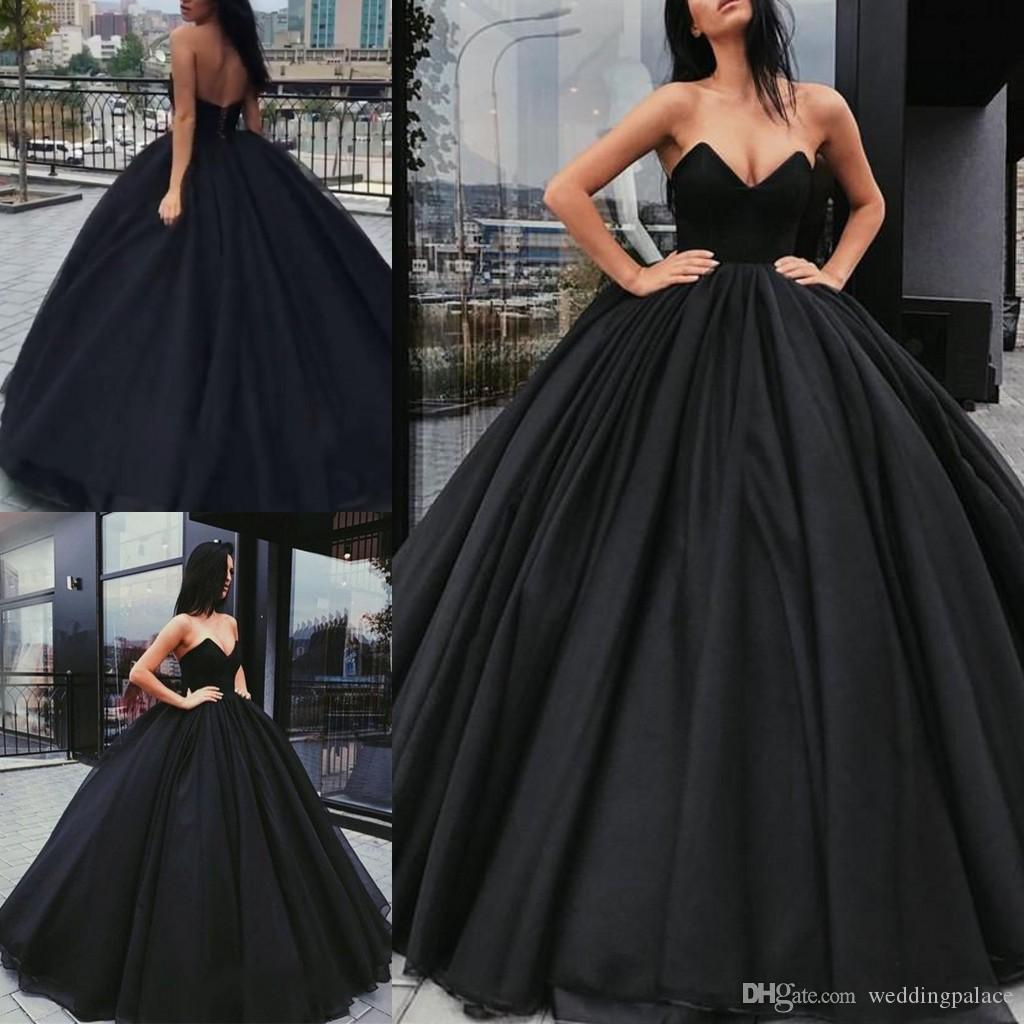 2018 Newest Black Ball Gown Prom Dresses V Neck Lace Up Back Tulle ...