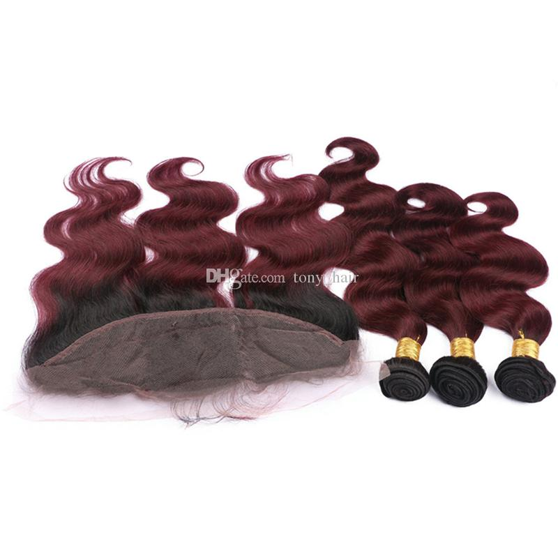 Dark Roots Wine Red Ombre Frontal and Bundles 1B 99J Burgundy Body Wave Ombre Malaysian Virgin Hair Weaves with Frontal