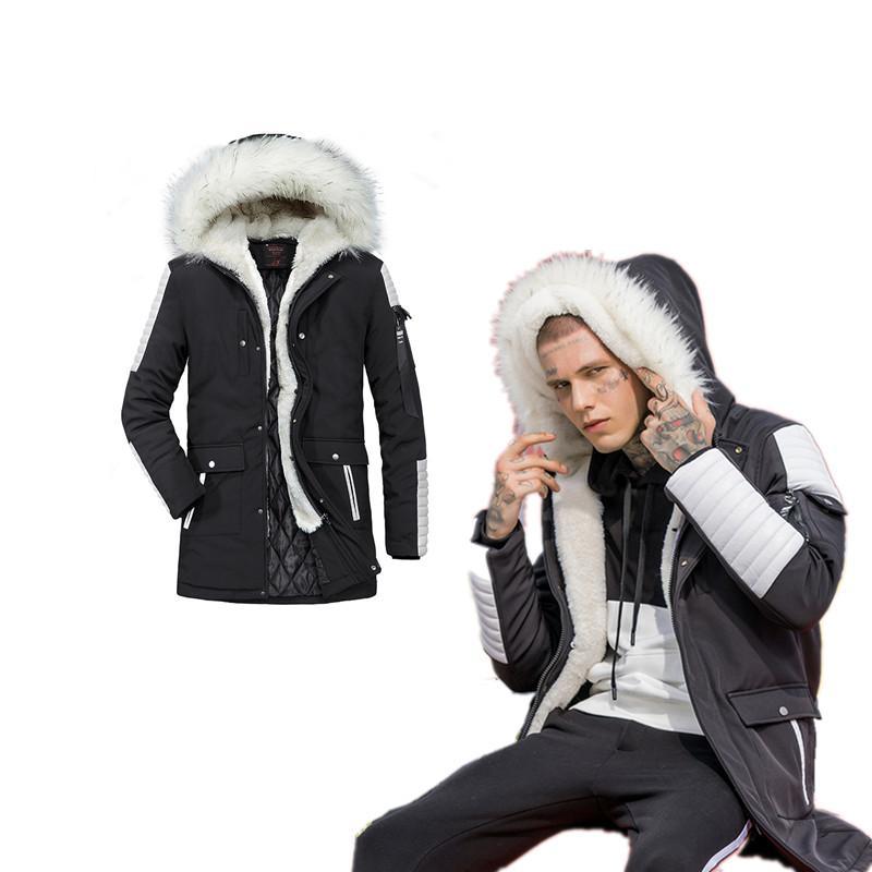 dcddf7fb4 Men Winter Coat Fur Hooded Jacket Fashionable Boy Thick Outwear Warm Male  Parkas Outdoor Long Jackets Cool Men s Winter Clothing