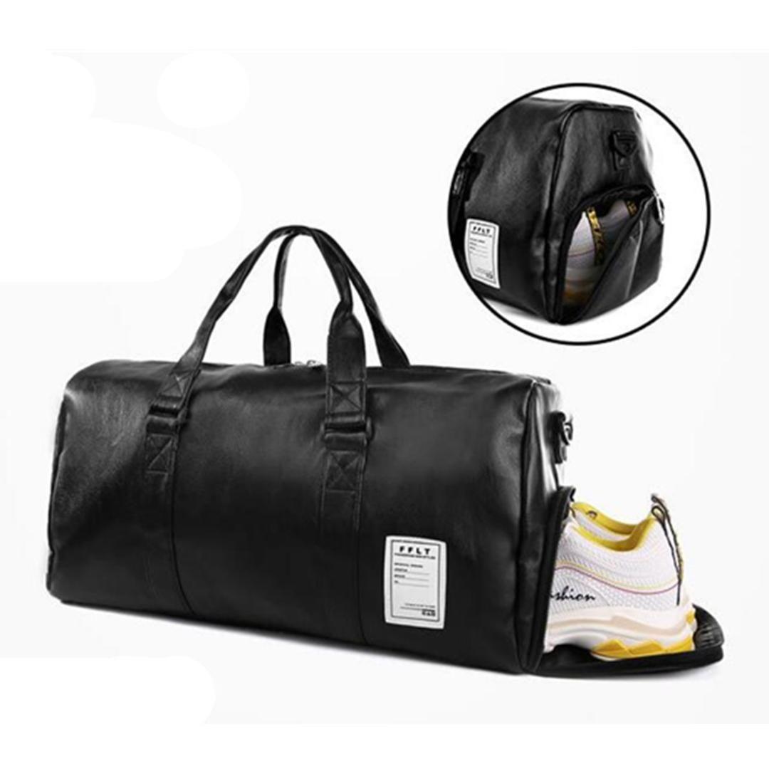 Travel Bag Black Large Capacity Luggage Duffel Totes Handbag Leather ... 8cede858d09d4