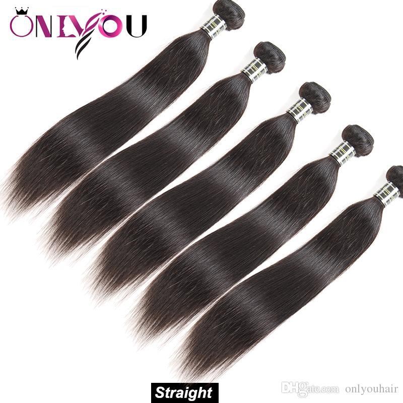 10A Sınıf Brezilyalı Virgin Saç İnsan Saç Uzantıları Dokuma 5 veya 6 Demetleri Düz Saç Vücut Derin Su Dalga Sapıkça Kıvırcık Doğal Siyah