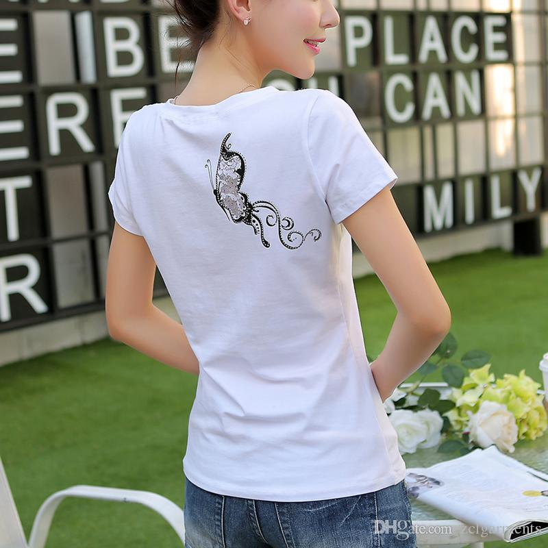 Female Cotton T Shirt Butterfly Print T-Shirts Women 2018 New Summer Lace Short Sleeve Casual Clothing Gray White Tee Tops