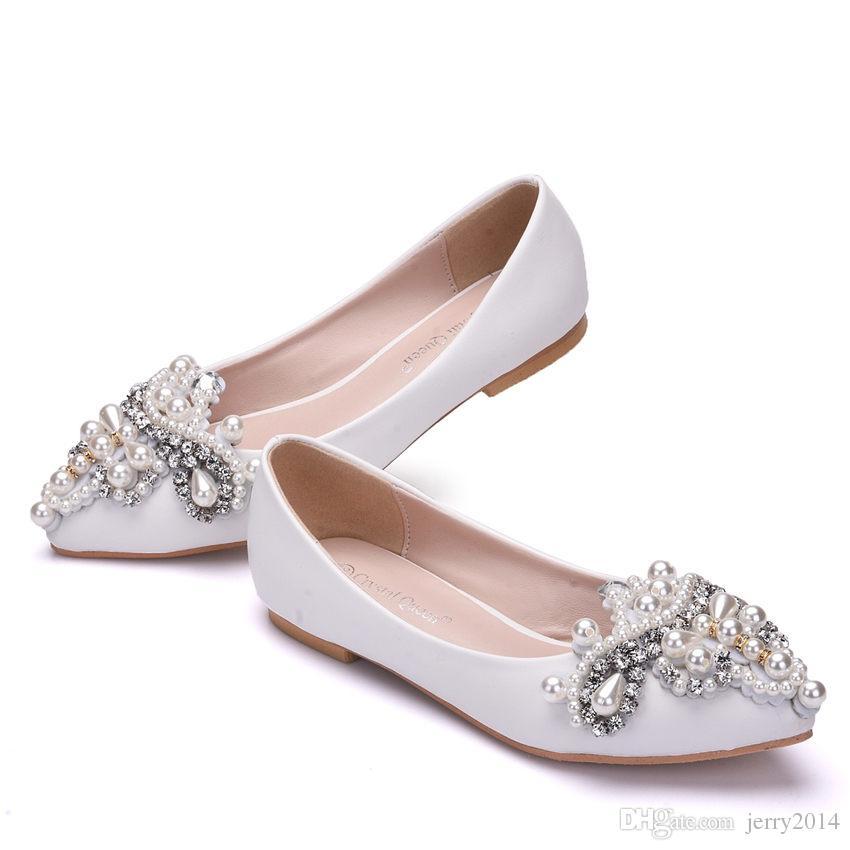 Nouveau Belles Femmes Appartements De Mode Perles D'imitation Chaussures Blanc Couleur Strass Bout Toit Plat chaussures De Mariage De Grande Taille