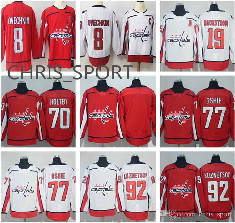 132c49c3da5 2018 Washington Capitals Hockey Jerseys  92 Evgeny Kuznetsov 43 Tom Wilson  8 Alex Ovechkin 19 Nicklas Backstrom 70 Braden Holtby 77 T.J. Oshie From ...