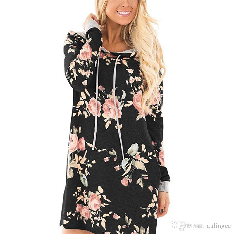 Women's Clothing 2018 Autumn Womens Full Sleeve Hoodie Long Sweatshirt Casual Hooded Pullover Dress Plus Size 2xl