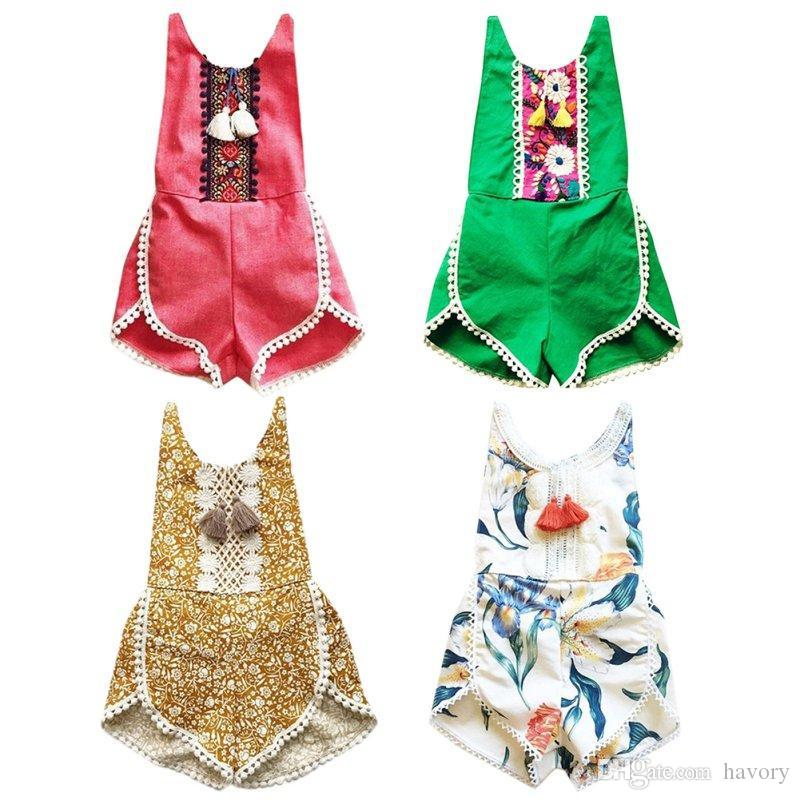 c990498e06cf Toddler Girls Clothes Vintage Floral Girls Infant Jumpsuit Sweet ...