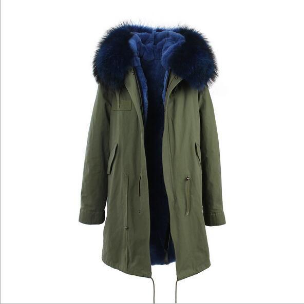 cinza marca Jazzevar pele de coelho branco forrado casacos longos negros com pele branca guarnição parka longo inverno