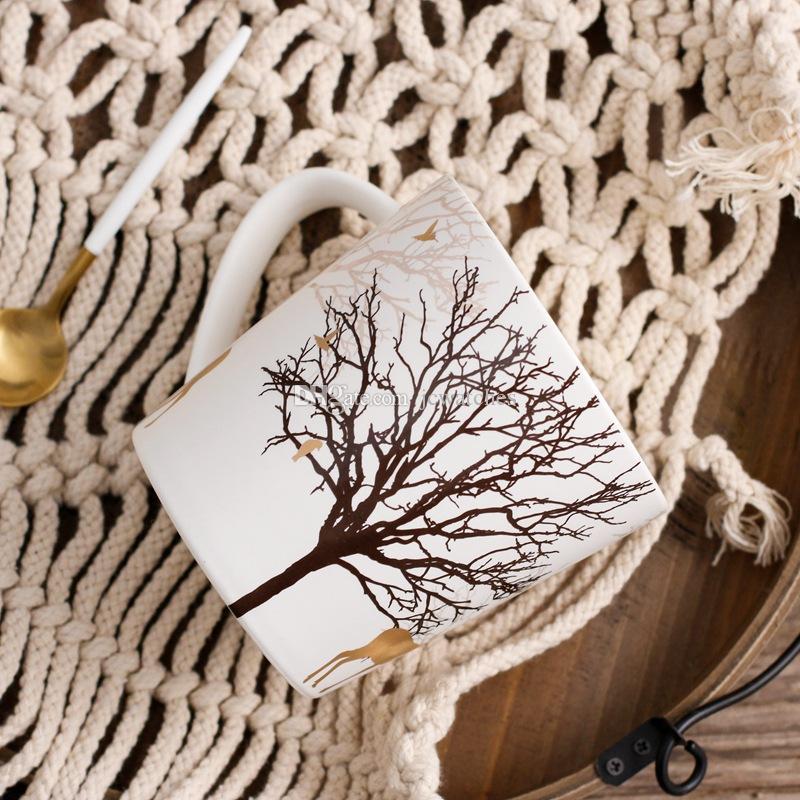 Avrupa Tarzı Geyik Bardak Büyük Kapasiteli Kupa Seramik Kupalar Kahve Fincanı Süt Çay Bardağı Yılbaşı Hediyeleri