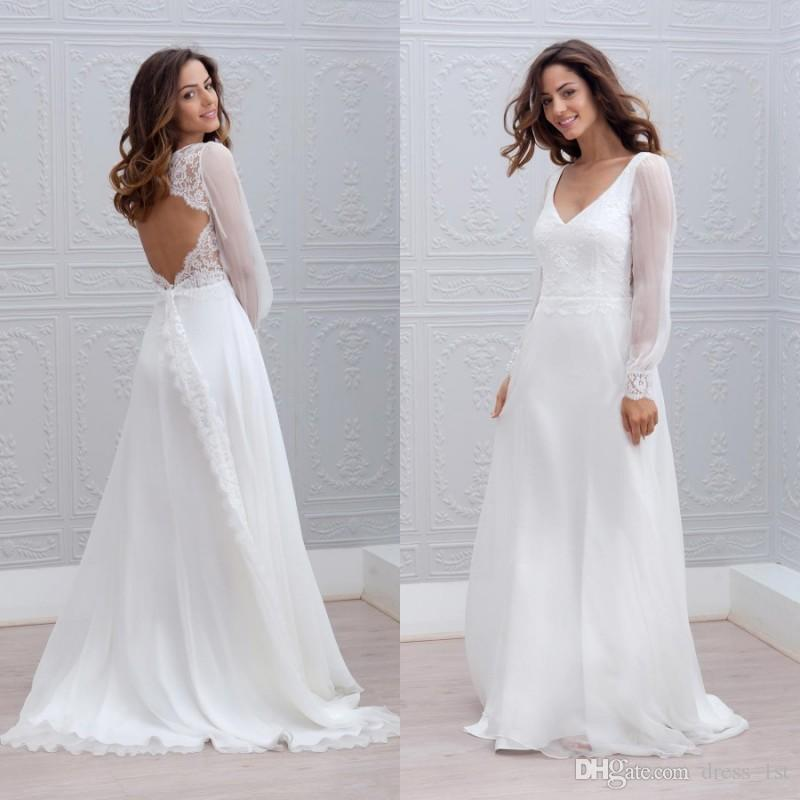 80aae00834 Discount Summer Beach Style Long Sleeve Wedding Dresses V Neck A Line Sweep  Train Open Back Flowy Chiffon And Lace Boho Bridal Gowns Wedding Dresses  Online ...