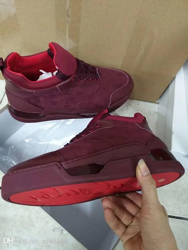[Avec boîte] Super Qualité Rouge Semelle De Luxe Rouge Bas Hommes Tênis Aurelien Plat Chaussures De Esporte Geunine En Cuir FORNECEDORES 38-46