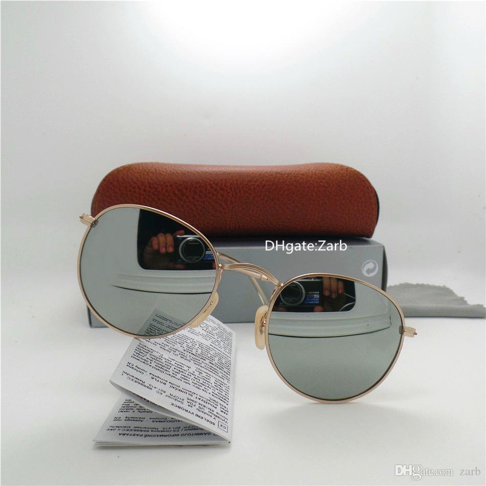High Quality Glass Lens classic Men Women Sunglasses UV400 Metal Frame PilotcEyewear 58/62 Vintage Mirror Eyeglass With Box Case