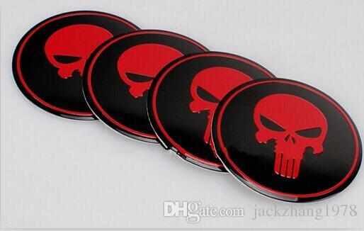 Car Styling Aluminum alloy Cool Punisher Symbol Skull Center Wheel Cover Labeling Emblem Car Sticker Badge