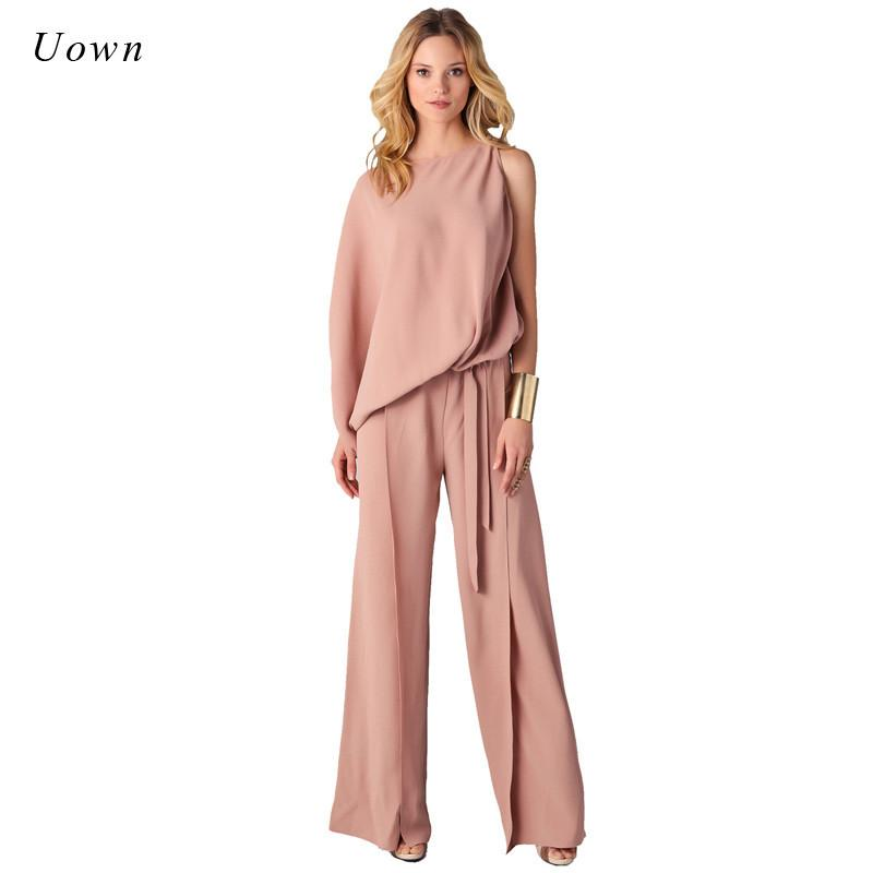 a26cbb121e8 2019 Long Pants Romper Wide Leg Jumpsuit For Women 2018 Autumn Fashion Long  Sleeve Formal One Piece Ladies Elegant Jumpsuits Overalls From Buttonline