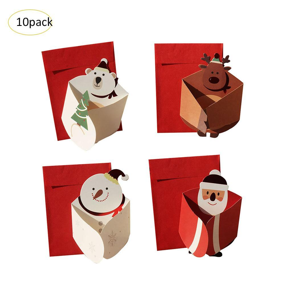 2018 Christmas Cards Korean Version 3D Tri Fold Cute Cartoon ...