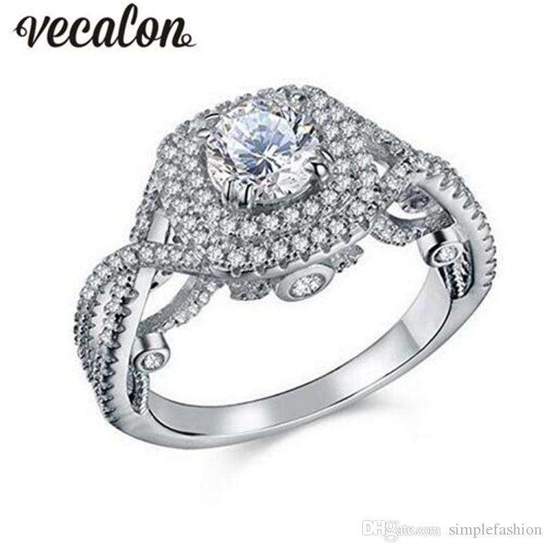 Vecalon Vintage Women Jewelry 925 Sterling Silver Ring Full 1ct Diamonique 5A Zircon cz Engagement Wedding band Rings For Women