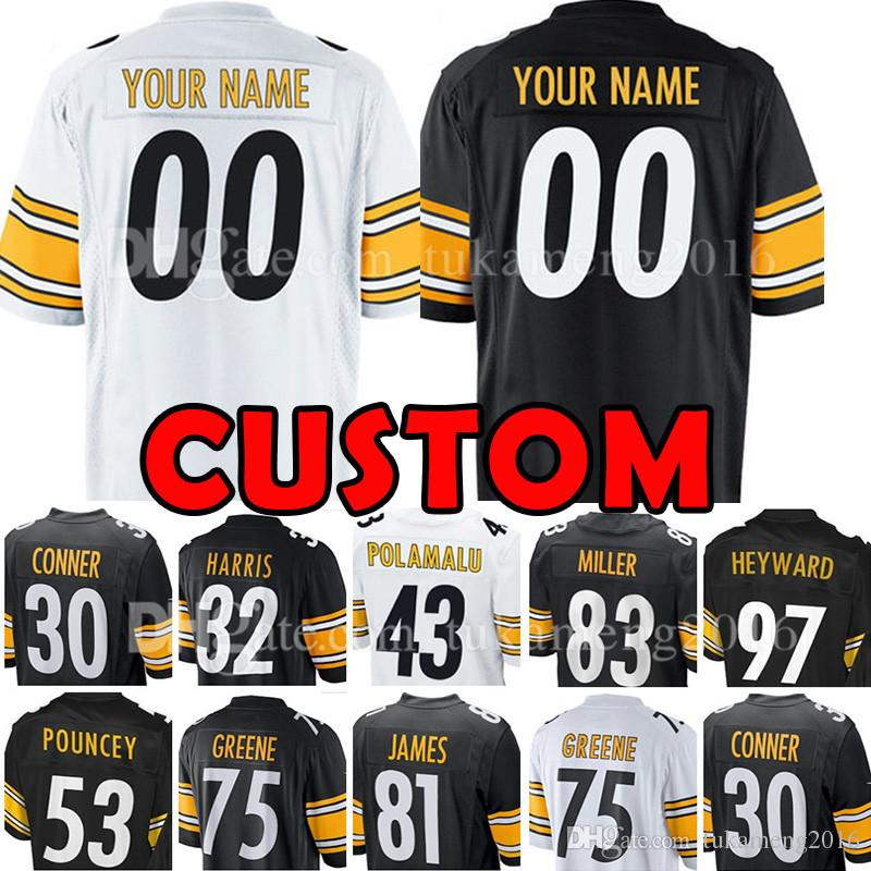 promo code 66019 4880d Custom Pittsburgh Jersey Steelers 23 Joe Haden 83 Heath Miller 97 Heyward  75 Greene 81 Jesse James Pouncey Harris 11 Wheaton 25 Artie Burns