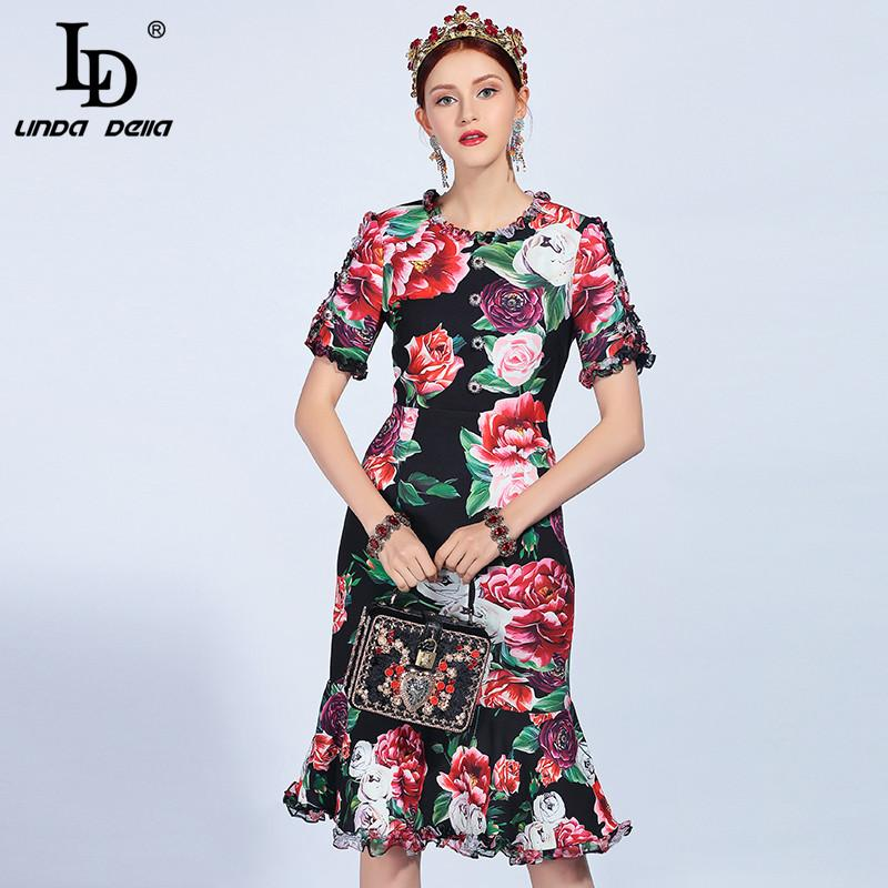 LD LINDA DELLA 2018 Runway Fashion Summer Dress Women s Short Sleeve ... 9b30c54505ff