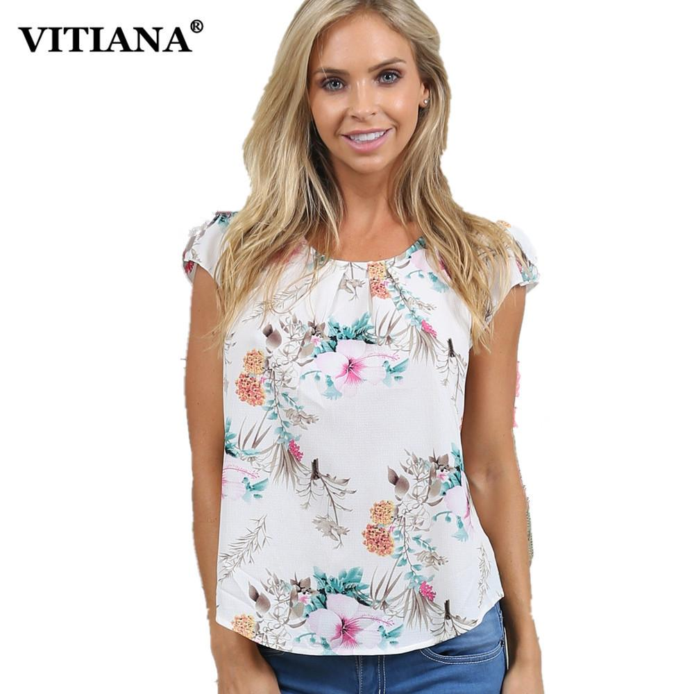 7a2e730e00053c VITIANA Women Plus Size Chiffon Casual Blouse Shirt Female 2018 Summer  Short Sleeve White Floral Print Elegant Loose Tops Tee