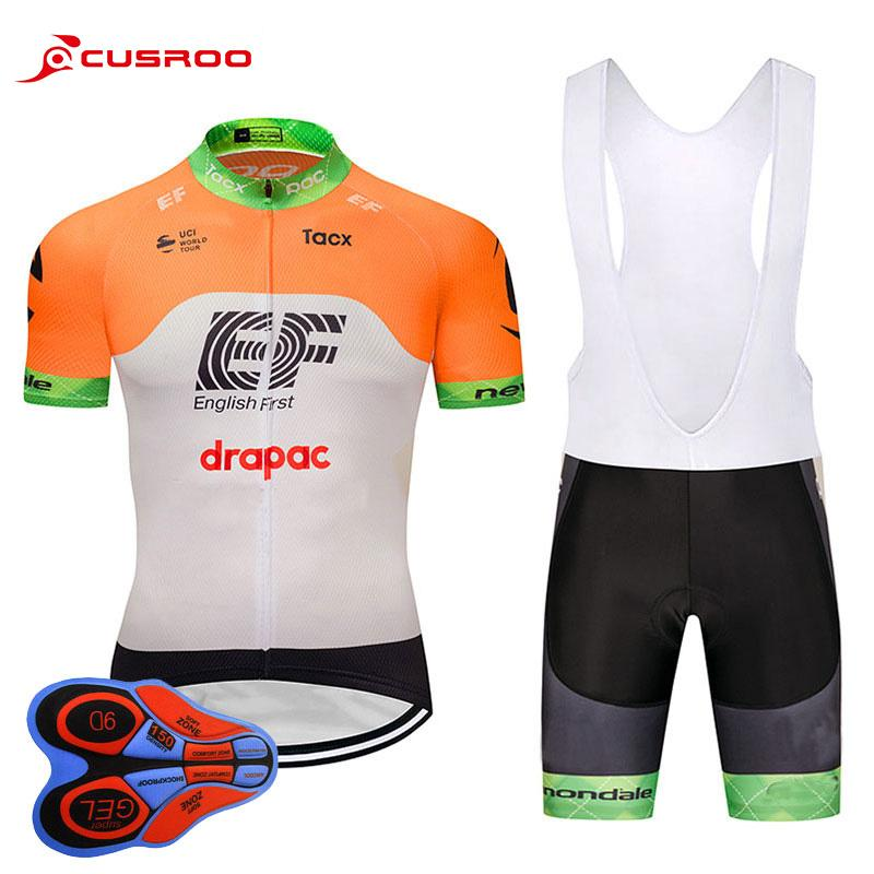 2018 Team EF Short Sleeve Cycling Jersey 9D Gel Pad Bike Shorts Ropa ... addf48d8b