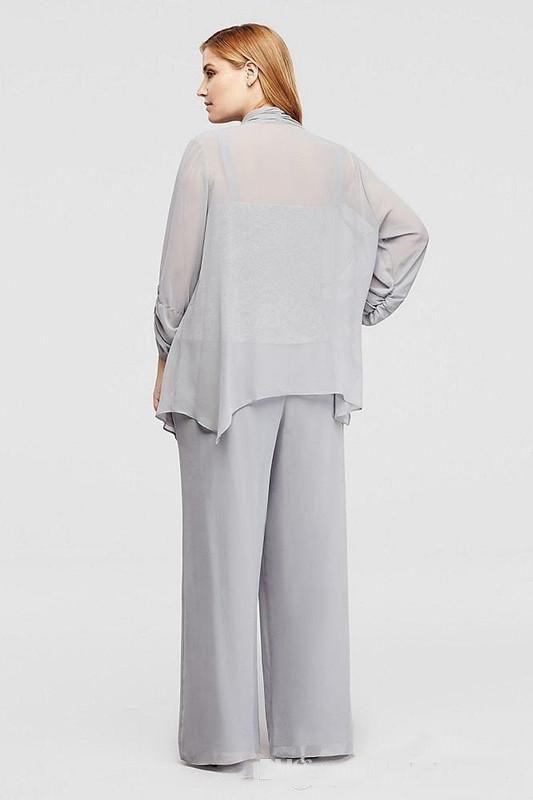 2019 Cinza Chiffon / Lace Plus Size Mãe De Noiva Calça Terno de Mangas Compridas 3 Peças Moms Vestido de Festa Formal
