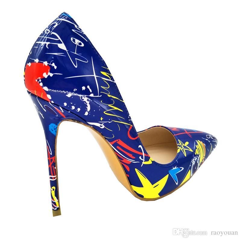 moda delgada talón de tacón alto flores de impresión partido de la boda zapatos de mujer más tamaño blanco y azul es