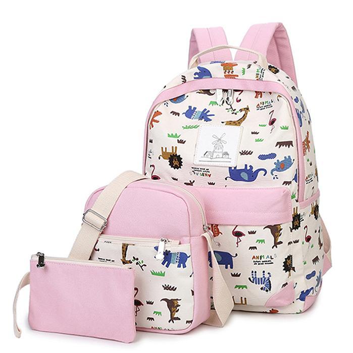 Canvas Girl School Bags For Teenagers Backpack Women Three Piece Suit  Shoulder Bags   Set Rucksack Middle School High School Knapsack Man Bags  Jute Bags ... 059a027eedb8f