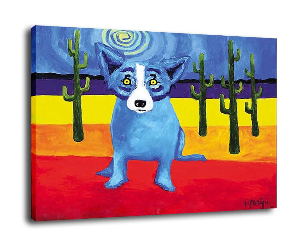 george rodrigue animal lost in the painted desert oil painting