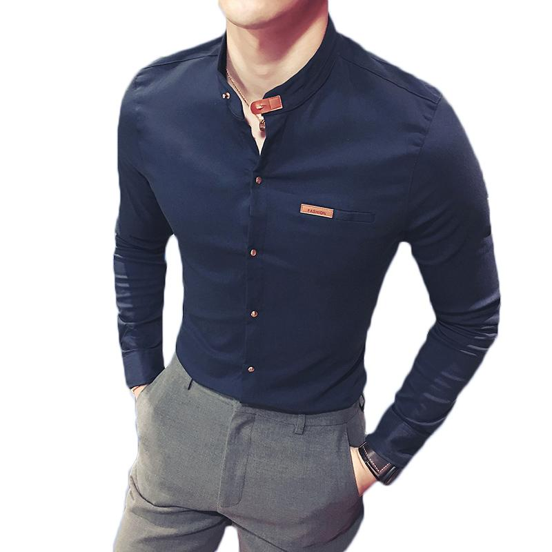 64f7a34872 Compre 2018 Hot New Man Camisas Manga Larga Sólido Casual Negro Blanco Slim  Fit Imported Ropa Masculina Color De Moda Hombres Sin Cuello Camisas A   34.73 ...