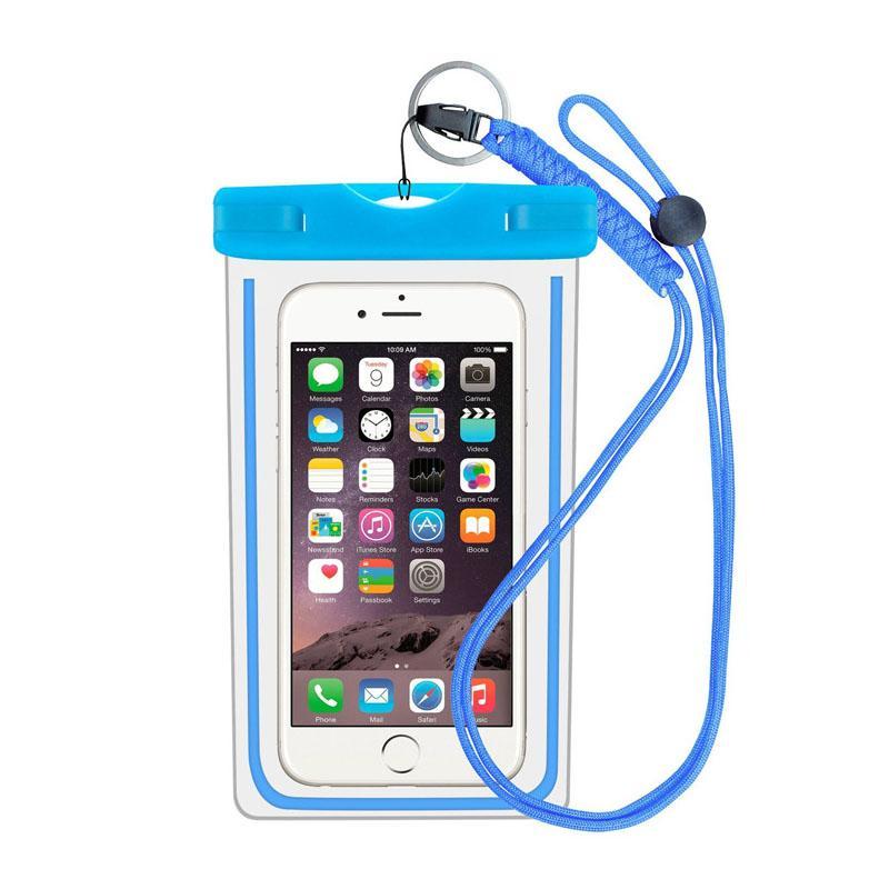 2018 New Arrival Hot Sale Luminous Waterproof Bag Transparent Waterproof  Phone Bag Suitable for Swimming Drifting Diving Color Blue
