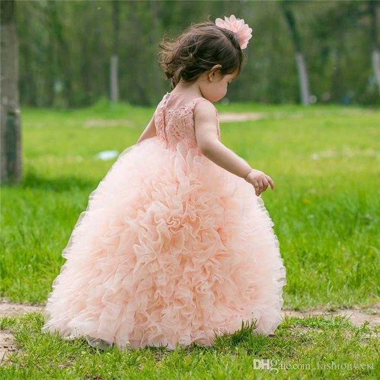 Peach Ball Gown puffy falda niñas faldas Vestidos de las muchachas de flores 3d- Apliques florales Niñas Vestido del desfile Holiday Garden Tassel Tulle cupcake