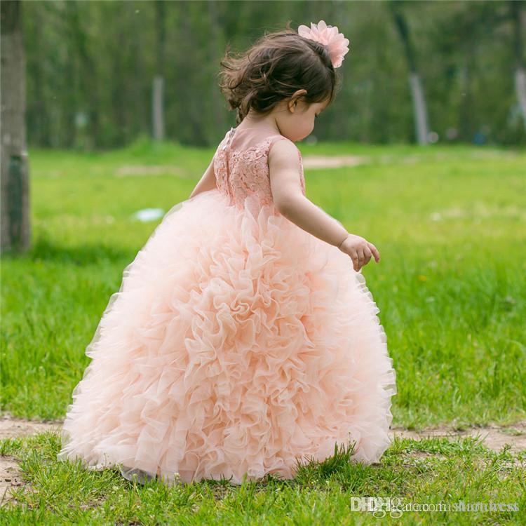 Peach Ball Gown puffy ruffle girls skirts Flower Girls Dresses 3d- Floral Appliques Girls Pageant Dress Holiday Garden Tassel Tulle cupcake